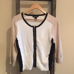 White House Black Market Zip-up 3/4 Sleeve Shirt